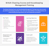 British Cleaning Course and Housekeeping Management Training course Infographic