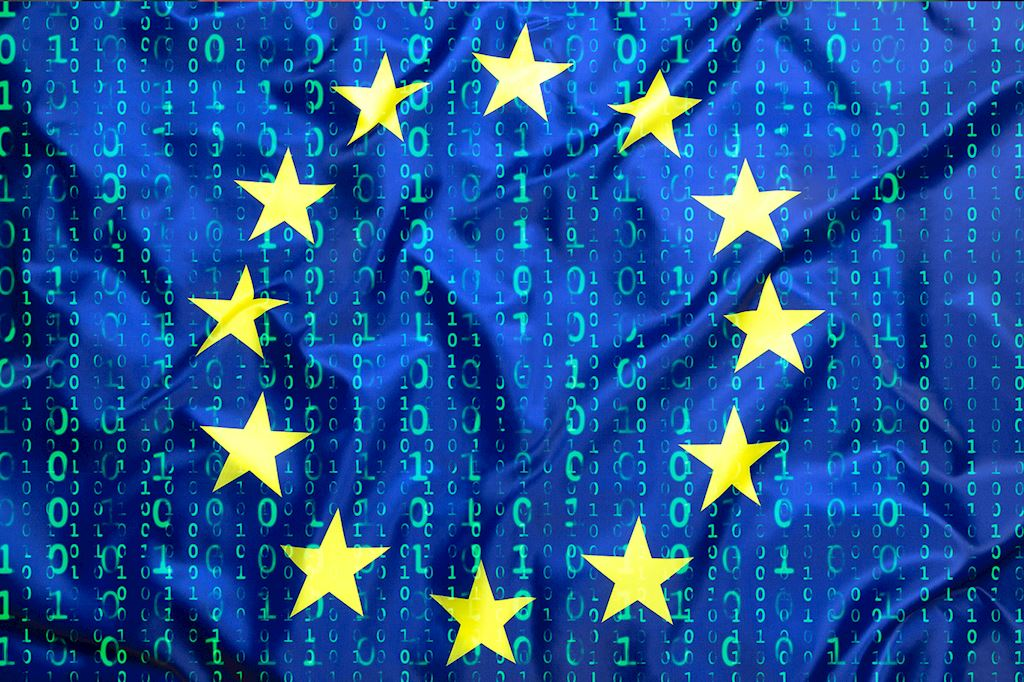EU Flag with binary 0s and 1s streaming down it