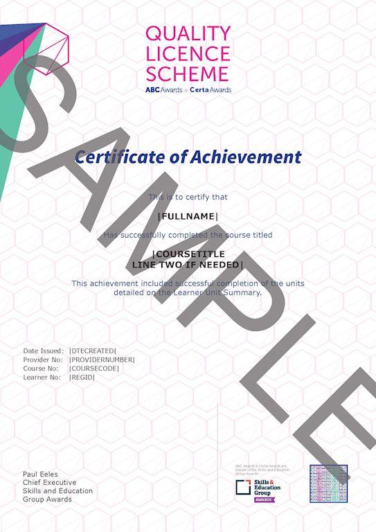 ABC Awards Certificate Sample