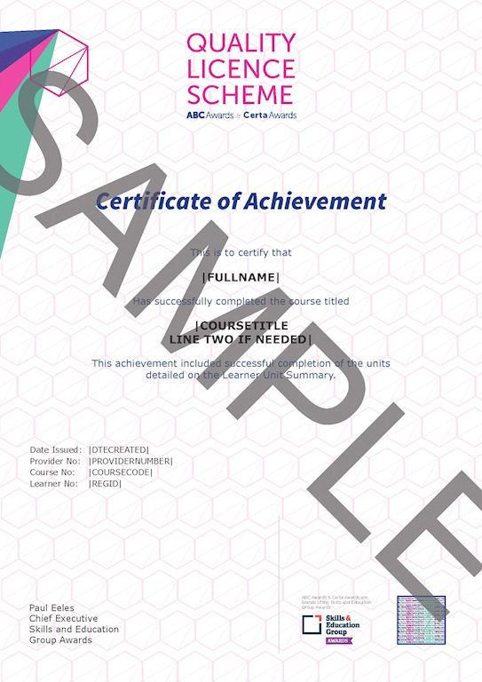 ABC Awards Certificate Sample