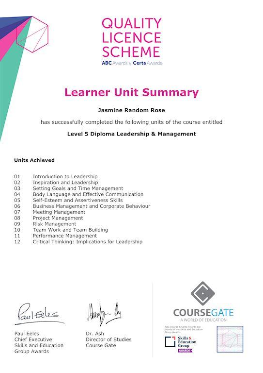 Sample Learner Unit Summary