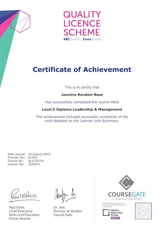 Sample Certificate of Achievement