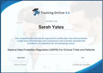 GDPR in Clinical Trials Course Certificate