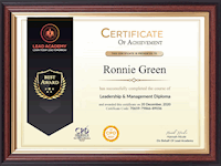 Retail Store Manager - Sample Certificate