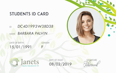 Janets Student id card