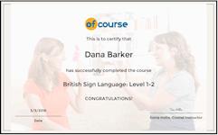 Sign language certificate