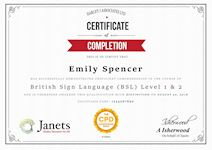 Janets Sample Certificate